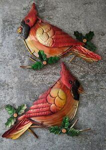 Vtg Metal Glass 3d Wall Hanging Art Cardinal Christmas Holiday Pair Birds Ebay
