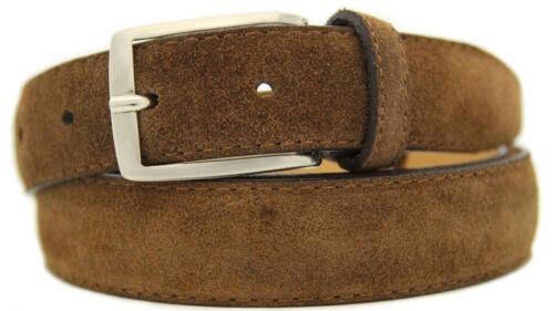 Italiana Pelle Scamosciata Cintura Uomo Donna Suede Belt Marrone Larga 3cm a