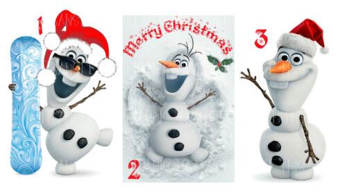 FROZEN OLAF CHRISTMAS XMAS IRON ON HEAT TSHIRT TRANSFER PERSONALISED LOT FO
