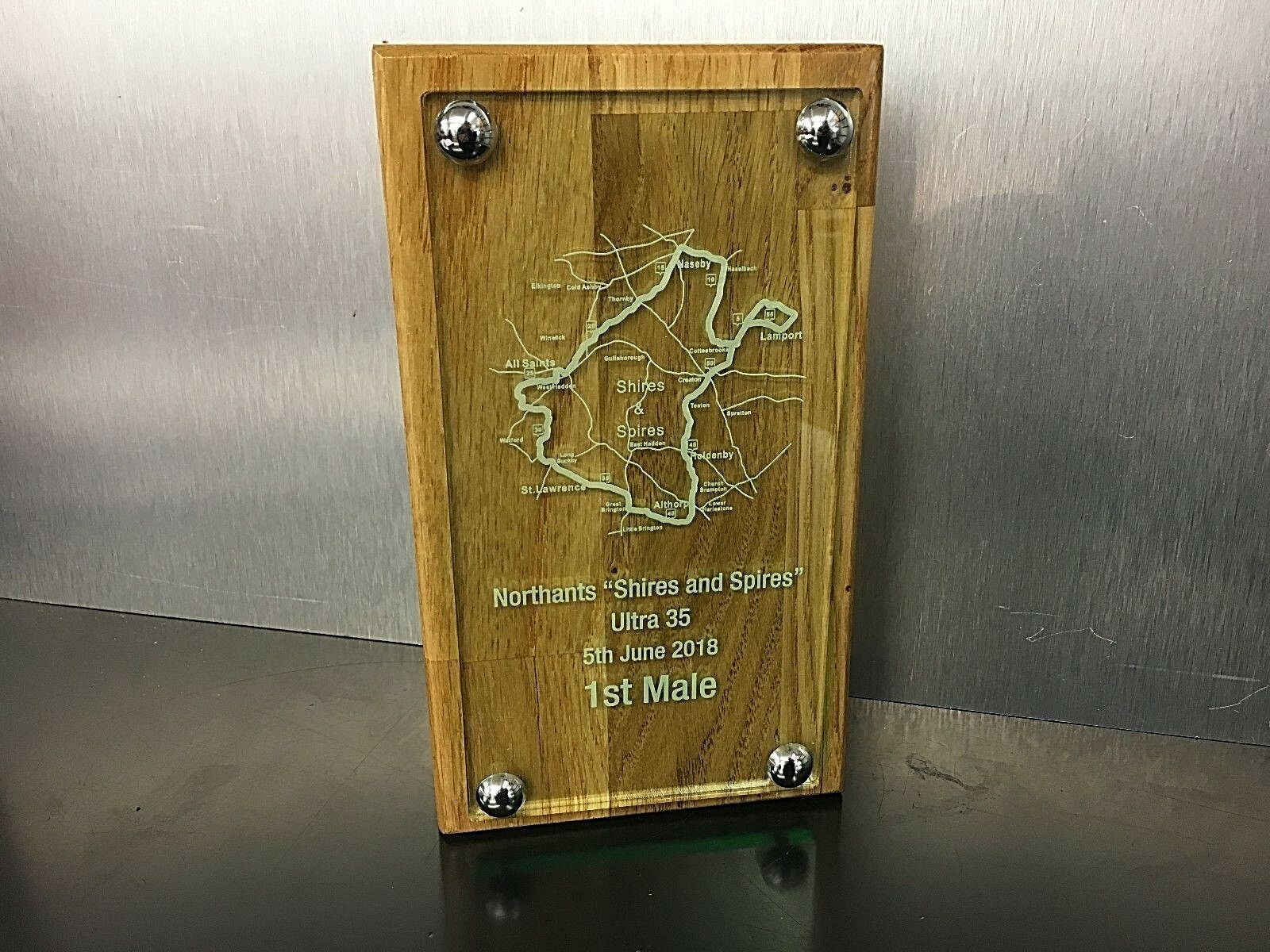Bespoke Oak Trophies ,Corporate Award, Made and engraved to your own design ,