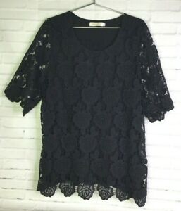 Simply-Couture-Womens-XXL-2XL-Romantic-Black-Lace-Overlay-Top-Blouse
