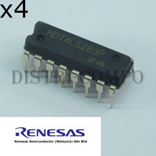 lot de 4 74LS283 = HD74LS283PE 4-bit Binary Full Adder DIP-16 Renesas RoHS