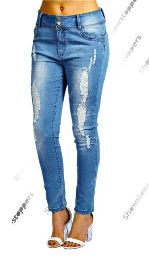NUOVO FORTI taglia 16 18 20 22 24 26 blu da donna Jeans attillati Strappato Slim