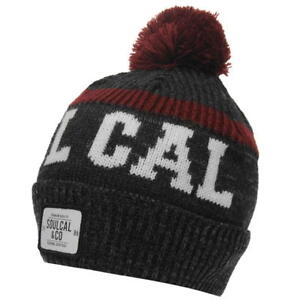 353926d8d1b MENS SOULCAL GREY BURGUNDY WHITE WOOLLY WOOL KNIT KNITTED SKI SKIING ...