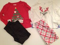 Girls Xmas Christmas Pajamas Pants Set Girl Size X Small 4/5 Flannel Chihuahua