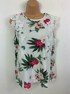 WOMENS-DOROTHY-PERKINS-WHITE-FLOWER-PATTERN-LACE-SLEEVELESS-T-SHIRT-TOP-SIZE-12
