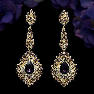 18K Gold Plated GP Purple Crystal Rhinestone Drop Chandelier Dangle Earrings 992