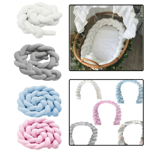 Baby Crib Bumper Knitted Plaited Plush Nursery Soft Cotton for Newborn Bed Sleep