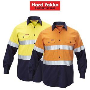 Mens-Hard-Yakka-Work-Shirt-Hi-Vis-Taped-Safety-Long-Sleeve-Cotton-Drill-Y07990