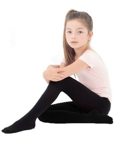 ~ Kids Child Black Colors 80 Den Fullfoot Pantyhose Tights Cute KC12