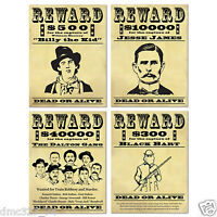 4pc Set Cowboy Party Decor Western Wild West Outlaws Wanted Sign Poster Cutouts