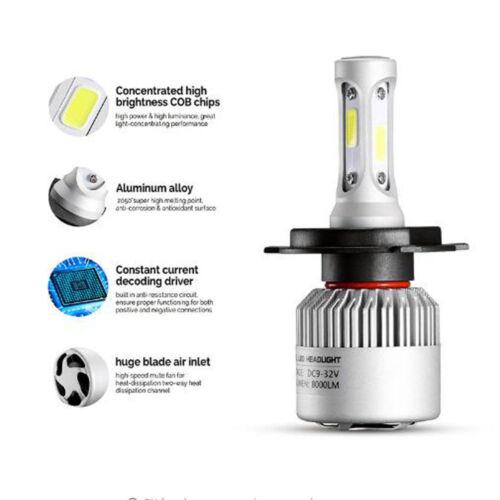 H4 9003 8000LM Car COB LED Conversion Headlight Bulb Hi//Lo Beam DC9-32V 6000K