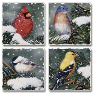 Mixed-Absorbent-Stone-Coasters-Set-of-4-Backyard-Birds-on-Snowy-Branch-Holiday