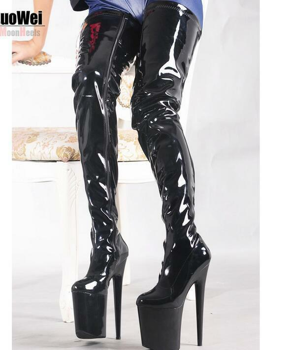 Sexy Womens Shiny Platform Over Knee Boots Stiletto High Heel Pole Dance shoes