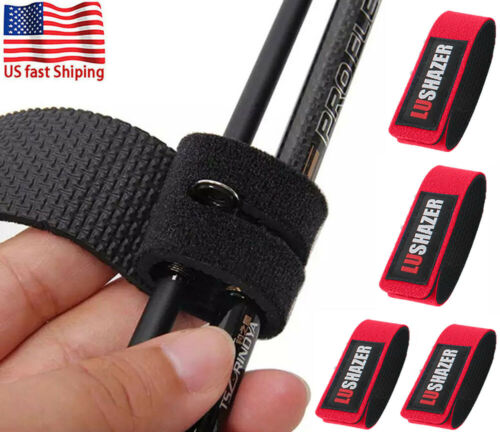4x Fishing Rod Tie Strap Belt Tackle Band Pole Nylon Wrap Tool Accessories Red