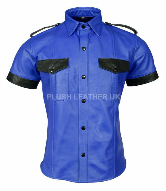 Para hombres cuero  genuino de ovejas Premium Muy Caliente Azul Camisa uniforme de la policía azulf Gay  más orden