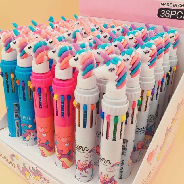 10 in 1 Cartoon Unicorn Ballpoint Pen School Office Supply Gift Stationery Pens