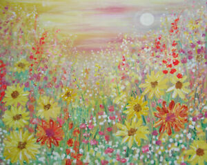 Sunflowers-at-Sunset-Moon-Rising-a-large-painting-on-canvas-by-Jenny-Hare