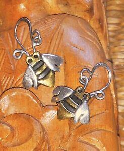12 x 1 Far Fetched Sterling Silver Tarnished Brass Fish Shape Wire Pierced Earrings