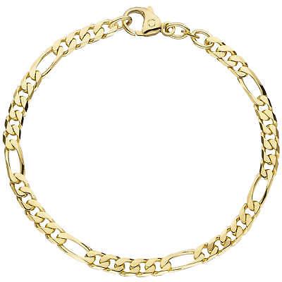 4,4mm Bracelet Figaro Bracelet Bracelet Or 585 Or Jaune 21cm Precious Metal Without Stones Unisexe