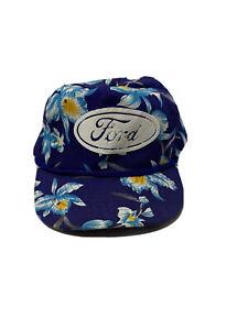 Ford-Trucks-Logo-Tropical-Design-Strap-Back-Blue-Hat-90s-Vintage