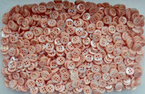 J74 Pequeño remolino de Naranja Melocotón 11mm 18L Camisa Nacarado 4 Agujero Botones Craft