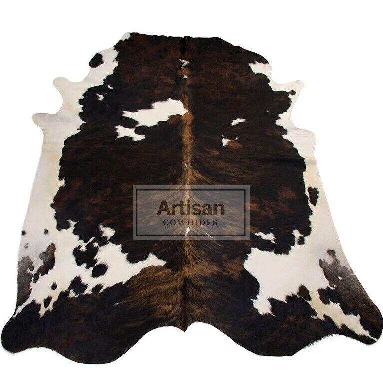 LARGE DARK BRINDLE TRIFarbe COWHIDE RUG 6'x5'5  Ft Cow Skin Rug Cow Hide Carpet