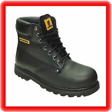 MENS NEW LEATHER  SAFETY  WORK  BOOTS STEEL TOE CAP  SHOES  SIZE 10/44 BLACK