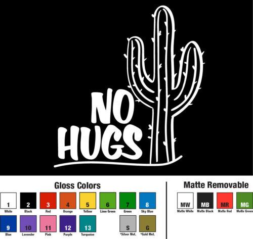 No Hugs Cactus Decal Window Bumper Sticker Car Prickly Desert Zero Affection