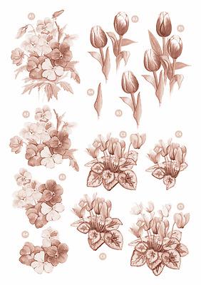 Cyclamen Craft UK A4 Die Cut Decoupage 114 Flowers Pansy Tulip