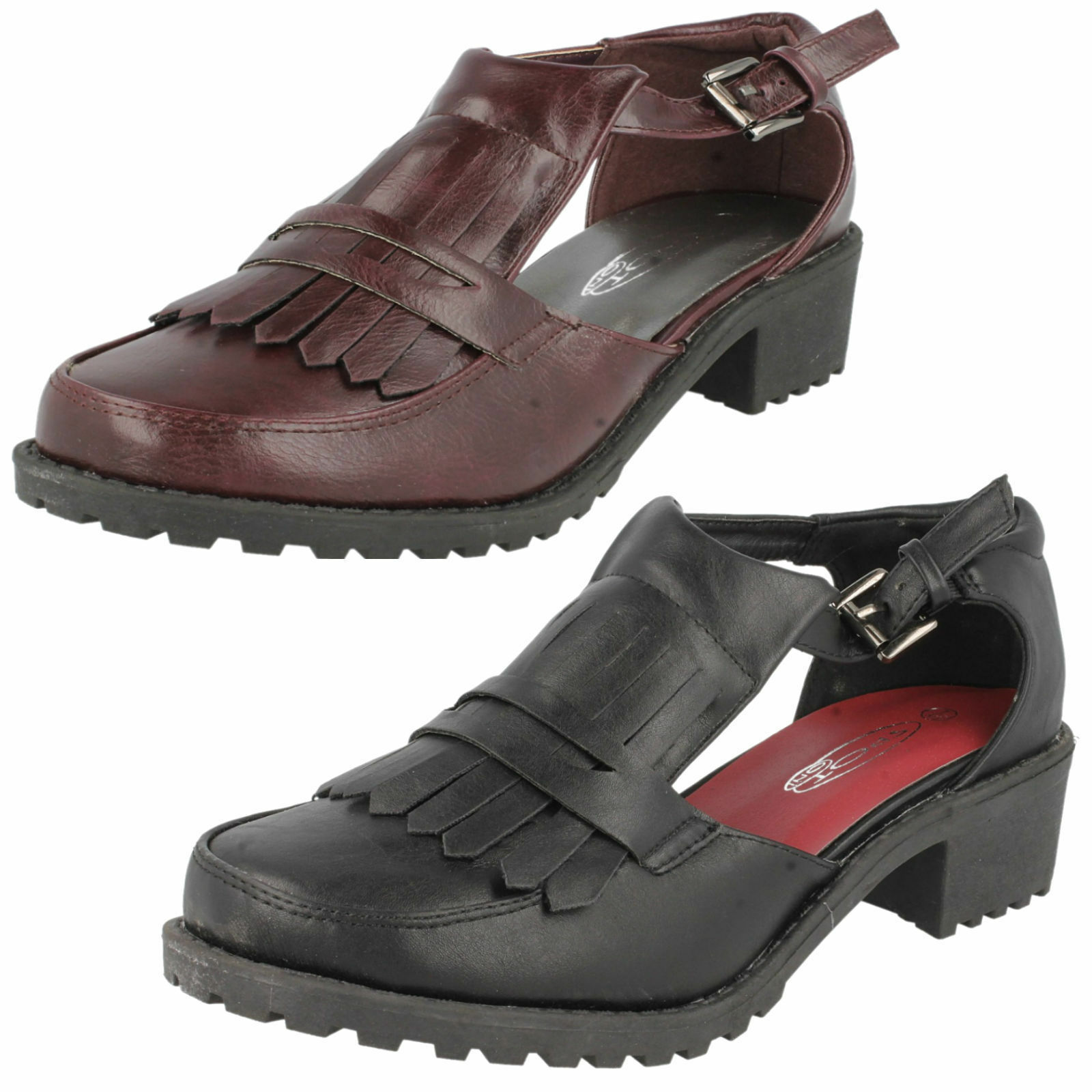 Spot On F9728 Ladies PU Shoes Black or  ( Burgundy 30B) (Kett)