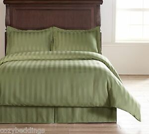 Image Is Loading Damask Stripe Green 5pc Full Size Bed Polyester