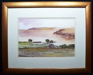Original Irish Art Watercolour Painting Antrim Coast Cottages