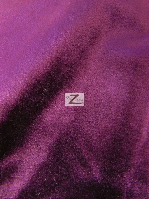 """SOLID BENOTI VELVET UPHOLSTERY FABRIC - Purple - 57"""" WIDTH SOLD BY THE YARD"""