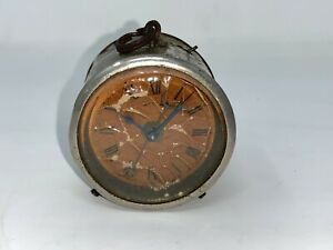 19Th C Antique Old Brass Craft Collectible Morning Alarm Table Clock Watch