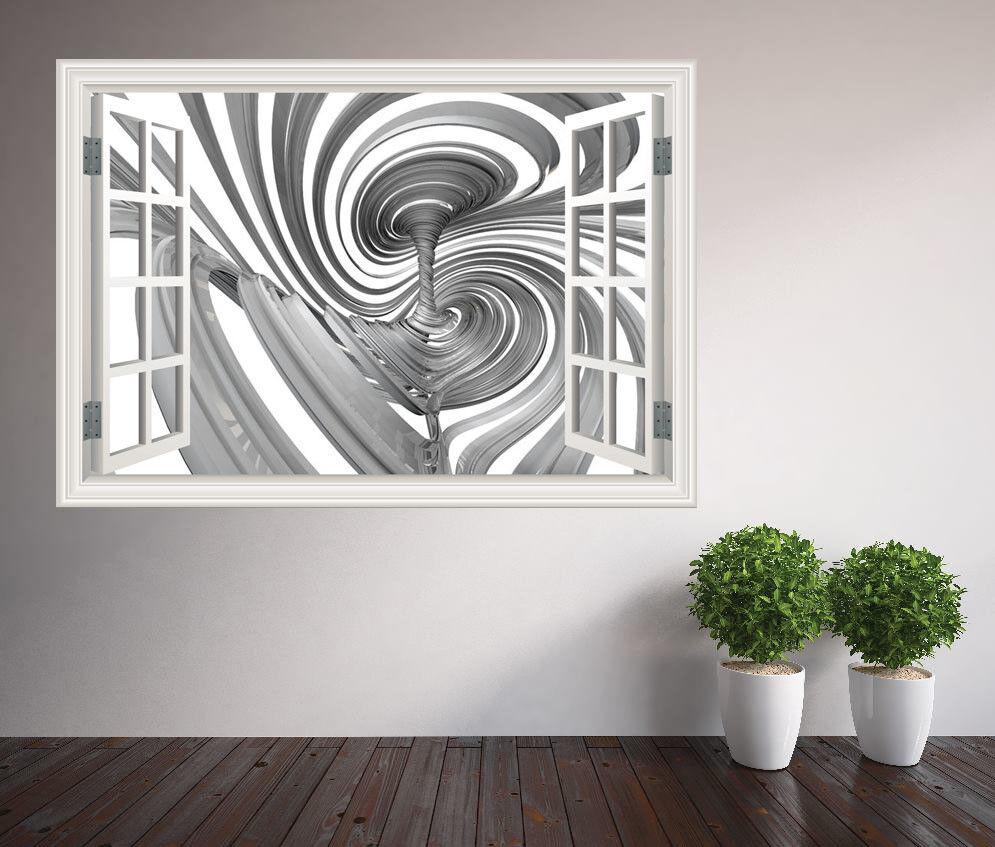 Cool 3D Optische Täuschung Wirbel Tornado Fenster Wandaufkleber (55701609ww)