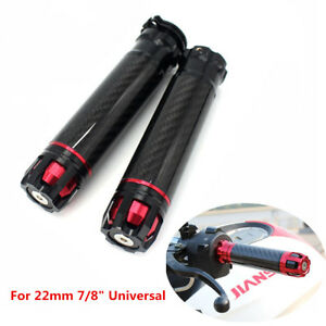 Universal-Motorcycle-Carbon-Fiber-22mm-7-8-034-Handlebar-Hand-Grips-Handle-Bar-Ends