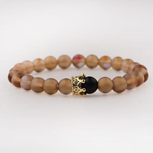 Natural Mystic Quartz Couronne Bracelets son et son amitié 8 mm Perles Bracelets