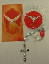 Holy spirit Rosary white boxed/ Espíritu Santos Rosario con oracion y caja