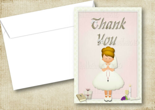 PERSONALISED FIRST HOLY COMMUNION PAPER INVITATION OR THANK YOU CARD /& ENVELOPES