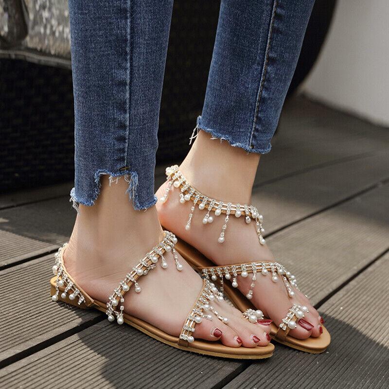 Gladiator Womens Clip Toe Thong Rhinestones Bohemia Slingbacks Flats Sandals New