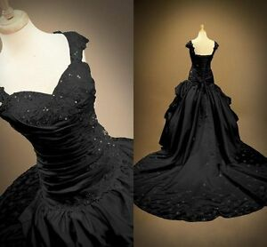 2018-New-Gothic-Black-Wedding-Dresses-Ball-Gown-Lace-Up-Bridal-Gowns-Custom-Made