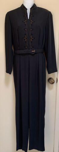 Liz Claiborne Vintage Jumpsuit Petite 10 Black Emb