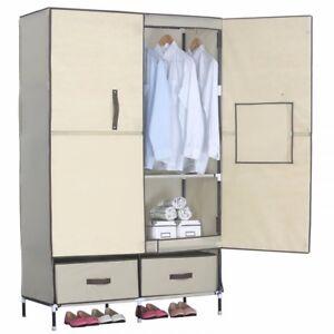 Home Bedroom Sturdy Clothing Storage Rack Closet Wardrobe with Shelf Drawer US