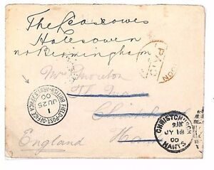 BE44 1900 GB F.P.O South Africa ABW Boer War Cover Redirected Christchurch