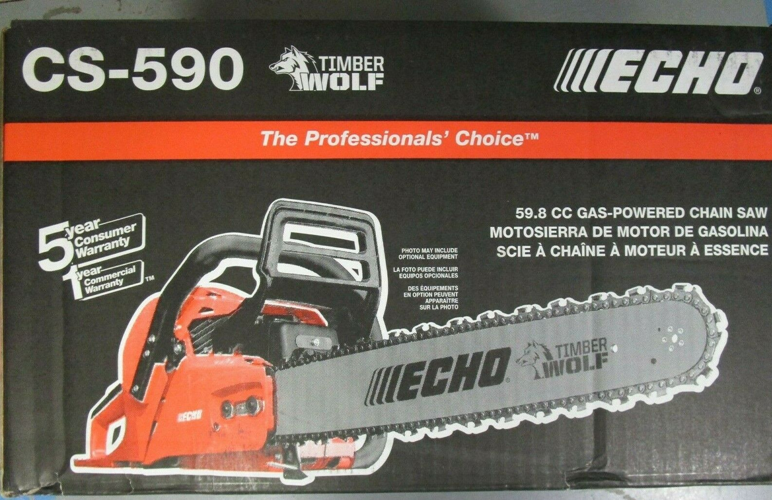"""New Echo CS590-20 Timber Wolf Chainsaw 59.8 CC Engine with 20/"""" Bar and Chain"""