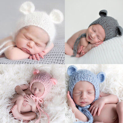 Baby Mohair knitting Bonnet Hat Newborn Photo Photography Prop Cap Outfits HI