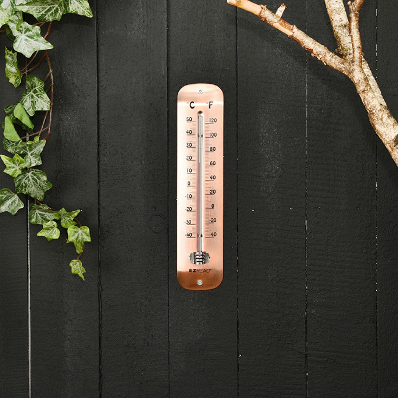 Wall Thermometer Copper Plate Garden Greenhouse Garage Temperature Gauge 30cm