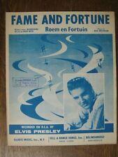 PARTITION MUSICALE BELGE ELVIS PRESLEY FAME AND FORTUNE