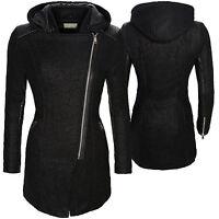 mujer chaqueta de invierno abrigo parka negro entretiempo Capucha d-132